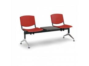 Plastová lavice do čekáren SMILE, 2-sedák, se stolkem, červená
