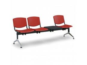 Plastová lavice do čekáren SMILE, 3-sedák, se stolkem, červená