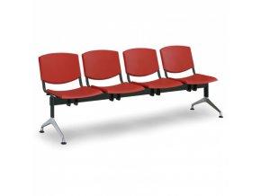 Plastová lavice do čekáren SMILE, 4-sedák, červená
