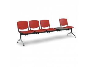 Plastová lavice do čekáren SMILE, 4-sedák, se stolkem, červená