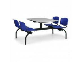 Jídelní set - modrá sedadla, deska šedá