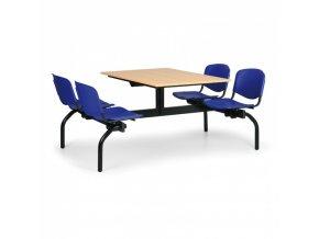 Jídelní set - modrá sedadla, deska buk