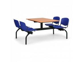 Jídelní set - modrá sedadla, deska třešeň