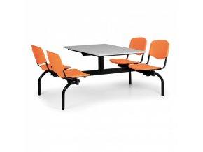 Jídelní set - oranžová sedadla, deska šedá