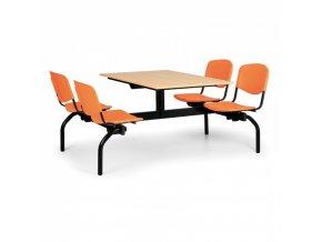 Jídelní set - oranžová sedadla, deska buk