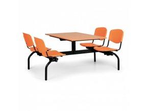 Jídelní set - oranžová sedadla, deska třešeň