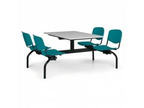 Jídelní set - zelená sedadla, deska šedá