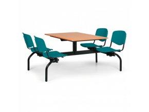 Jídelní set - zelená sedadla, deska třešeň