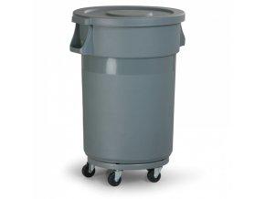 Průmyslová nádoba na odpad s víkem, 168 litrů