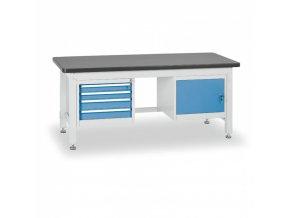Dílenský stůl BL se skříňkou a zásuvkovým kontejnerem, 1800 mm