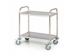 Nerezový policový vozík, 2 police, 710x410 mm