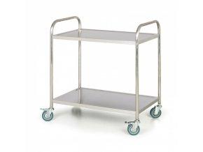 Nerezový policový vozík, 2 police, 860x540 mm