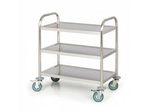 Nerezový policový vozík, 3 police, 710x410 mm