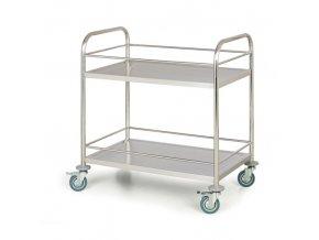Nerezový policový vozík, 2 police s ohrádkami, 710x410 mm