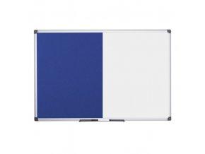 Popisovací magnetická tabule a textilní nástěnka, 1200x900 mm