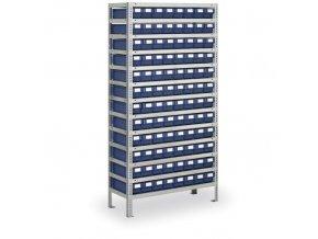 Regál s plastovými boxy MAX - 2000 x 1000 x 400 mm, 96x box B