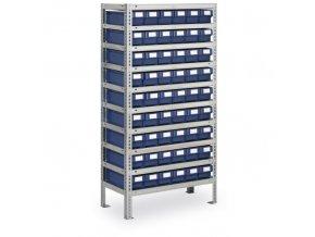 Regál s plastovými boxy MAX - 1600 x 800 x 500 mm, 54x box C