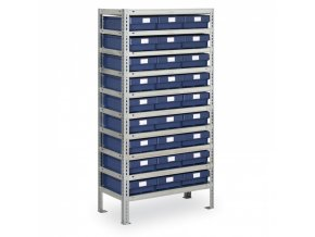 Regál s plastovými boxy MAX - 1600 x 800 x 400 mm, 27x box E