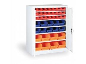 Skříň s plastovými boxy 1150 x 920 x 400 mm, 16xA/12xB/8xC, šedá/šedé dveře