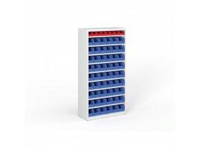 Regál s plastovými boxy - 1800 x 920 x 400 mm, 54x B, 8x A