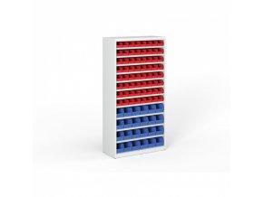 Regál s plastovými boxy - 1800 x 920 x 400 mm, 64x A, 24x B