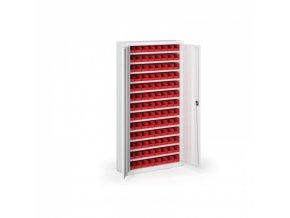 Skříň s plastovými boxy 1800 x 920 x 400 mm, 104xA, šedá/šedé dveře