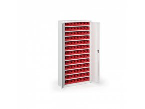 Skříň s plastovými boxy 1800 x 920 x 400 mm, 104xA, šedá/modré dveře