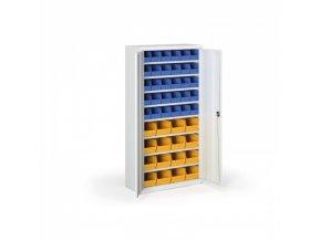 Skříň s plastovými boxy 1800 x 920 x 400 mm, 30xB/16xC, šedá/modré dveře