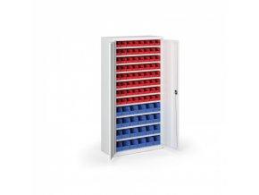 Skříň s plastovými boxy 1800 x 920 x 400 mm, 64xA/24xB, šedá/modré dveře