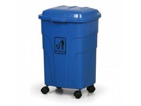 Mobilní odpadkový koš 70 litrů, modrý
