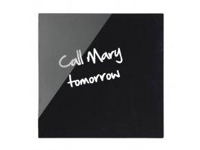 Skleněná magnetická tabule, černá, 480 x 480 mm