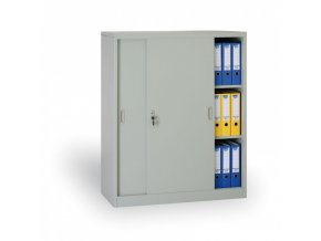 Kovová skříň s posuvnými dveřmi, 1200 x 1200 x 450 mm, světle šedá