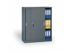 Kovová skříň s posuvnými dveřmi, 1200 x 1200 x 450 mm, tmavě šedá