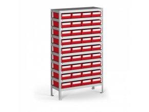 Regál s plastovými boxy ShelfBox, 1600 x 800 x 400 mm, 36x box E