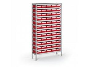 Regál s plastovými boxy ShelfBox, 2000 x 1000 x 400 mm, 60x box E