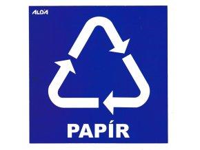 Samolepky - tříděný odpad, papír - modrá CZ
