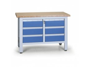Pracovní stůl do dílny EXPERT, 6 zásuvek, 1200 x 600 x 860 - 900 mm