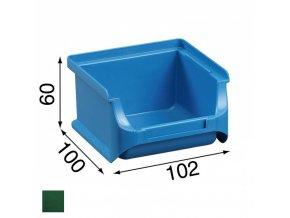 Plastové boxy PLUS 1, 102 x 100 x 60 mm, zelené, 30 ks