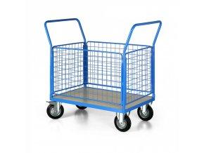 Plošinový vozík se 4 drátěnými stěnami, 1000x700 mm