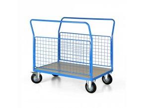 Plošinový vozík se 2 drátěnými stěnami, 1200x800 mm