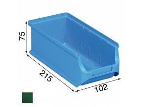 Plastové boxy PLUS 2L, 102 x 215 x 75 mm, zelené, 20 ks