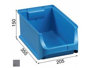 Plastové boxy PLUS 4, 205 x 355 x 150 mm, šedé, 12 ks