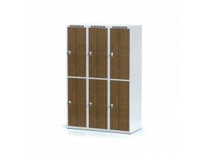 Šatní skříňka, 6 boxů 400 mm, laminované dveře ořech, otočný zámek