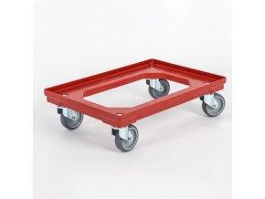 Plastový vozík na přepravky 600x400 mm, 250 kg, gumová kola