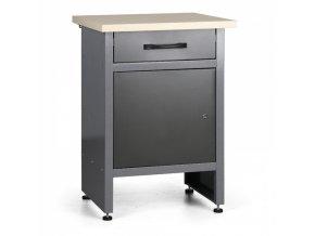 Pracovní stůl do dílny HOBBY III, 840 x 600 x 600 mm, 1 zásuvka, 1 skříňka