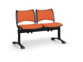 Čalouněné lavice do čekáren SMART, 2-sedák, oranžová, černé nohy