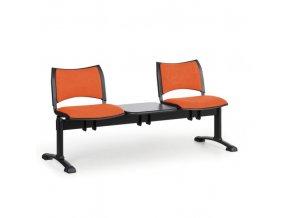 Čalouněné lavice do čekáren SMART, 2-sedák, se stolkem, černé nohy