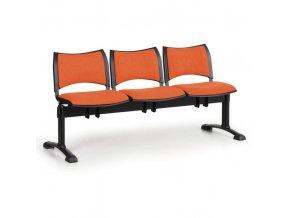 Čalouněné lavice do čekáren SMART, 3-sedák, oranžová, černé nohy
