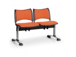 Čalouněné lavice do čekáren SMART, 2-sedák, oranžová, chromované nohy