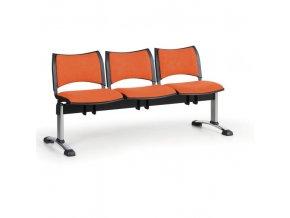 Čalouněné lavice do čekáren SMART, 3-sedák, oranžová, chromované nohy